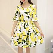 大甘に置く半袖ドレスを印刷2016夏の新しいレモンの葉のサイン看板韓国語バージョン