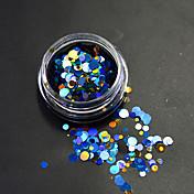 1 flaske mode farverig blandet størrelse mousserende søm kunst glitter laser runde paillette dekoration negle kunst skønhed diy tynd skive