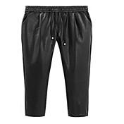 Mujer Chic de Calle Tiro Medio Inelástica Chinos Pantalones,Corte Ancho Un Color