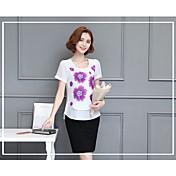 Mujer Tejido Oriental Playa Camiseta,Escote Redondo Un Color Manga Corta Algodón