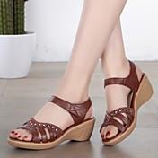 Sandály-Nappa Leather-Gladiátorské-Dámské--Šaty Běžné-Klín