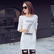 Mujer Simple Casual/Diario Camiseta,Escote Redondo Estampado Manga Larga Algodón