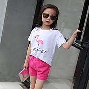 女の子 お出かけ カジュアル/普段着 学校用 プリント コットン セット 夏 半袖 アンサンブル