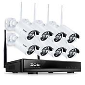 zosi®8ch960pのNVRワイヤレスCCTVシステム8本130万画素IPカメラのWiFi防水ホームセキュリティ監視キット