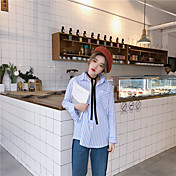 Mujer Simple Casual/Diario Camisa,Escote Cuadrado A Rayas Manga Larga Algodón Medio