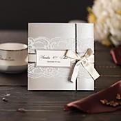 Doblado Triple Invitaciones De Boda 50-Tarjetas de invitación Estilo moderno Papel de Perla Lazo de Cinta Encajes