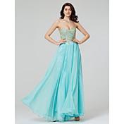 Corte en A Escote Corazón Hasta el Suelo Raso Evento Formal Vestido con Apliques Lentejuelas por TS Couture®