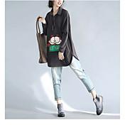 Mujer Activo Casual/Diario Primavera Camiseta,Escote Cuadrado Un Color Estampado Animal Manga Larga Algodón Fino
