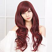 Mujer Pelucas sintéticas Sin Tapa Largo Ondulado Rojo Con flequillo Peluca natural Peluca de Halloween Peluca de carnaval Las pelucas del