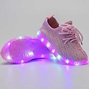 Chica Zapatillas de deporte Zapatos con luz Tul Verano Otoño Casual Zapatos con luz LED Tacón Bajo Negro Azul Oscuro Gris oscuro Rosa