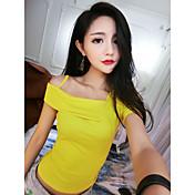 Mujer Sexy Playa Discoteca Camiseta,Escote Barco Un Color Manga Corta Algodón