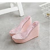 MujerSuelas con luz-Zapatos de taco bajo y Slip-Ons-Informal-PU-Dorado Blanco Negro Plata Rosa