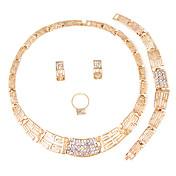 Juego de Joyas Collar Los sistemas nupciales de la joyería Cristal Moda Euramerican Estilo Simple Clásico Brillante Forma Cuadrada Dorado