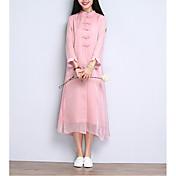 Mujer Recto Vestido Casual/DiarioUn Color Escote Chino Midi Manga Larga Seda Rayón Primavera Verano Tiro Medio Microelástico Fino