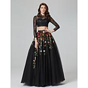 Corte en A Bateau Neck Hasta el Suelo Encaje Tul Evento Formal Vestido con Apliques por TS Couture®