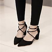 MujerSuelas con luz-Zapatos de taco bajo y Slip-Ons-Informal-PU-Negro Gris Rosa