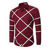 メンズ カジュアル/普段着 シャツ,シンプル シャツカラー プリント コットン 長袖