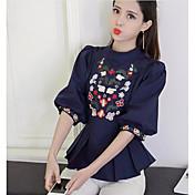 レディース カジュアル/普段着 シャツ,シンプル スタンド プリント コットン 七部袖