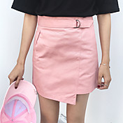 Mujer Noche Mini Faldas,Línea A Corte Bodycon Primavera Verano Un Color
