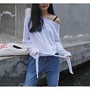 レディース お出かけ 春 夏 Tシャツ,シンプル ボートネック ソリッド レーヨン 長袖 薄手