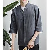 Pánské Jednobarevné Běžné/Denní Jednoduché Košile Nylon Asymetrický Tříčtvrteční rukáv