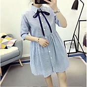 Mujer Línea A Vestido Casual/Diario Simple,A Rayas Escote Redondo Sobre la rodilla Manga Corta Rayón Verano Tiro Medio Microelástico Medio