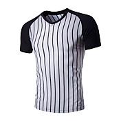 メンズ カジュアル/普段着 夏 Tシャツ,ヴィンテージ シンプル ピーターパンカラー ソリッド ストライプ コットン 半袖 ミディアム