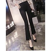 Mujer Sencillo Tiro Alto Microelástico Chinos Pantalones,Ajustado a la Bota Un Color