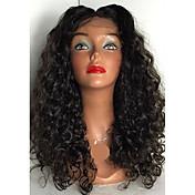 ヴィージンヘアフルレースウィッグペルーのフルレース人間の髪のかつらグルーレスな深い縮んだ人間の髪のレースのフロントウィッグ黒の女性のための