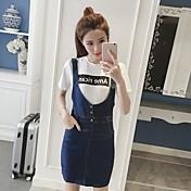 Mujer Corte Bodycon Vestido Casual/Diario Simple,Un Color Escote Redondo Sobre la rodilla 3/4 Manga Algodón Verano Tiro Medio