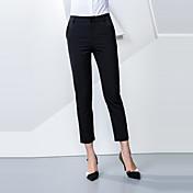Mujer Sencillo Tiro Medio strenchy Empresa Pantalones,Corte Recto Un Color