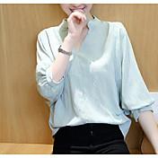 Mujer Simple Casual/Diario Camiseta,Escote en Pico Un Color Manga Corta Algodón Fino