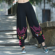 Mujer chinoiserie Tiro Medio Inelástica Chinos Pantalones,Corte Ancho Estampado