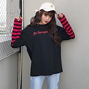 Mujer Simple Casual/Diario Camiseta,Escote Redondo A Rayas Manga Larga Algodón Poliéster
