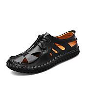メンズ サンダル ライト付きソール 穴の靴 レザー 春 夏 オフィス カジュアル フラットヒール ブラック Brown フラット