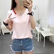 Mujer Simple Casual/Diario Primavera Verano Camiseta,Escote en Pico Un Color Manga Corta Algodón Opaco