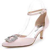 Mujer-Tacón Stiletto-D'Orsay y Dos Piezas-Sandalias-Boda Exterior Oficina y Trabajo Vestido Informal Fiesta y Noche-Seda-Blanco Rosa