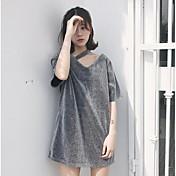 Mujer Simple Casual/Diario Camiseta,Escote en Pico Un Color Manga Corta Otro