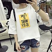 Mujer Simple Casual/Diario Primavera Verano Camiseta,Escote Redondo Letra Manga Corta Algodón Fino