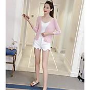 Mujer Regular Cardigan Casual/Diario Simple,Un Color Escote Redondo Algodón Otoño Medio Microelástico