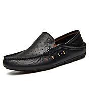 Hombre Zapatos Cuero real Cuero Primavera/Otoño Verano Confort Zapatos de taco bajo y Slip-On Para Deportivo Casual Negro Marrón Azul