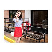 Mujer Simple Casual/Diario Camiseta,Escote Barco Un Color Manga Corta Poliéster