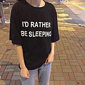 レディース お出かけ カジュアル/普段着 夏 秋 Tシャツ,シンプル ラウンドネック ソリッド レタード コットン 半袖 スモーキー
