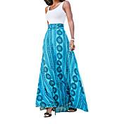 Mujer Vaina Vestido Casual/Diario Simple,Geométrico Estampado Con Tirantes Maxi Sin Mangas Algodón Verano Tiro Alto Elástico Fino