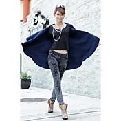 Mujer Simple Noche Camisa,Escote en U Profunda Un Color Sin Mangas Algodón