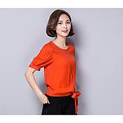 Mujer Chic de Calle Noche Camisa,Escote Redondo Un Color Manga Corta Algodón