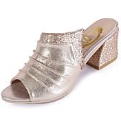Feminino Chinelos e flip-flops Conforto Couro Envernizado Verão Casual Caminhada Conforto Fru-Fru Salto Grosso Dourado Prata 2,5 a 4,5 cm