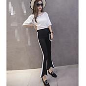 Mujer Sencillo Tiro Alto Microelástico Chinos Pantalones,Delgado Ajustado a la Bota Un Color Color puro