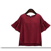 レディース お出かけ カジュアル/普段着 Tシャツ,ストリートファッション モダンシティ ラウンドネック ソリッド シルク コットン レーヨン 半袖