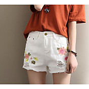 Mujer Chic de Calle Tiro Alto Microelástico Shorts Pantalones,Corte Ancho Un Color